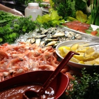 Cold dishes: Shrimps and Mussel